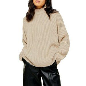 Topshop Mock Neck Long Sleeve Pullover Sweater
